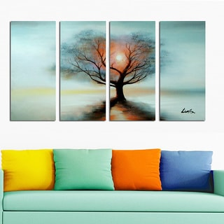 Rise Above' 4-piece Hand-painted Oil on Canvas ArtSunset Tree Painting -