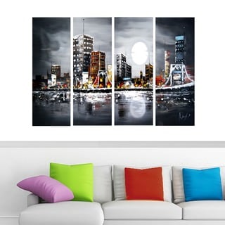 Moonrise City 4-panel Textured Painting