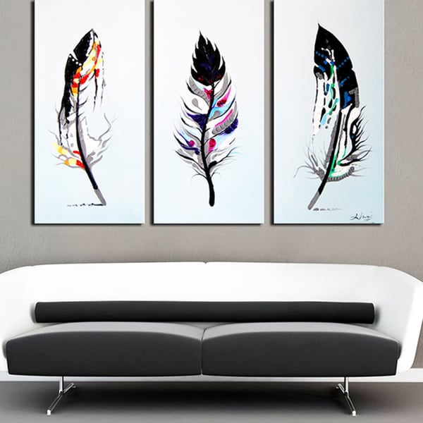Feathers 39 3 piece hand painted oil on canvas artabstract for 3 piece wall art