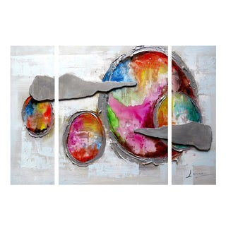 Highly Textured Abstract Planets 4-piece Painting