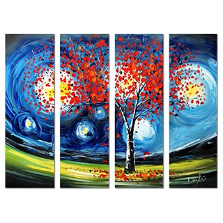 Heavily Textured 'Modern Tree' 4-piece Hand-painted Oil on Canvas Art
