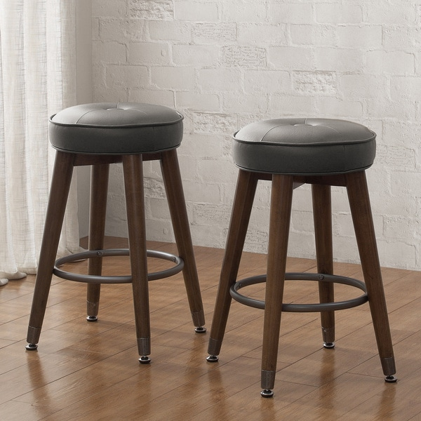 Retro Wood Charcoal Tufted Counter Stool Set Of 2