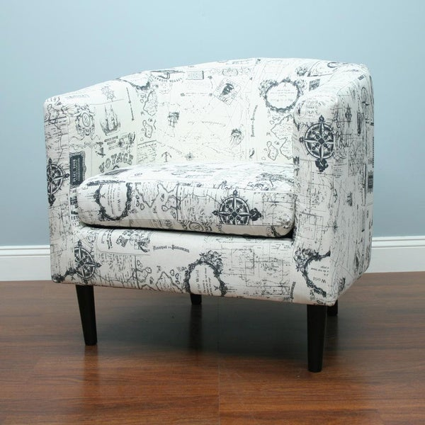 Jerry White Grey Print Accent Chair Overstock Shopping Great Deals On Living Room Chairs
