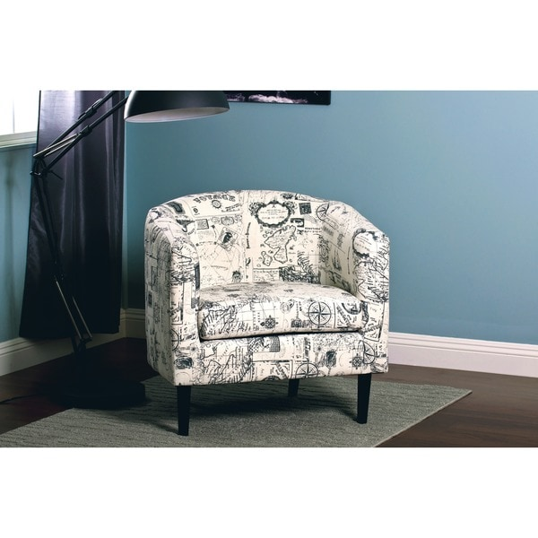 Jerry White/ Grey Print Accent Chair