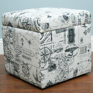 Brent White French Print Ottoman