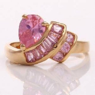 10k Yellow Gold Pink Sapphire Size 7.5 Ring