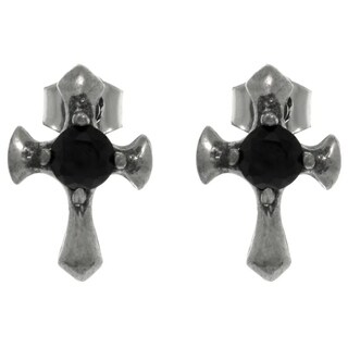 Carolina Glamour Collection Pewter Black Crystal Cross Stud Earrings