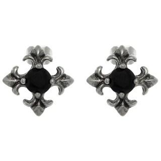 Carolina Glamour Collection Pewter Black Crystal Fleur de Lis Cross Stud Earrings