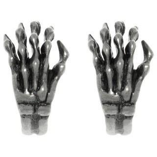 CGC Pewter Curved Skeleton Skull Hand Stud Post Earrings
