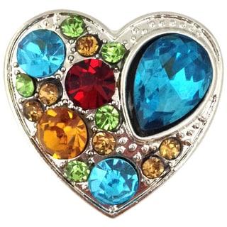 Bleek2sheek Snap-a-doo Multi Rhinestone Studded Heart Snap Chunk Charm