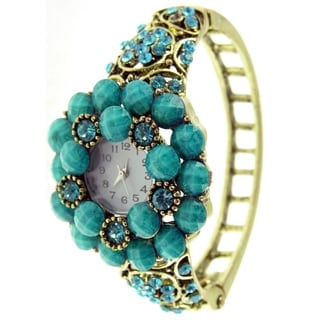 Women's Antique Gold Bangle Watch with Turquoise Faceted Stones
