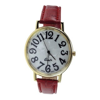 Women's Jumbo Watch with Red Faux Leather Bracelet and Easy Read Dial