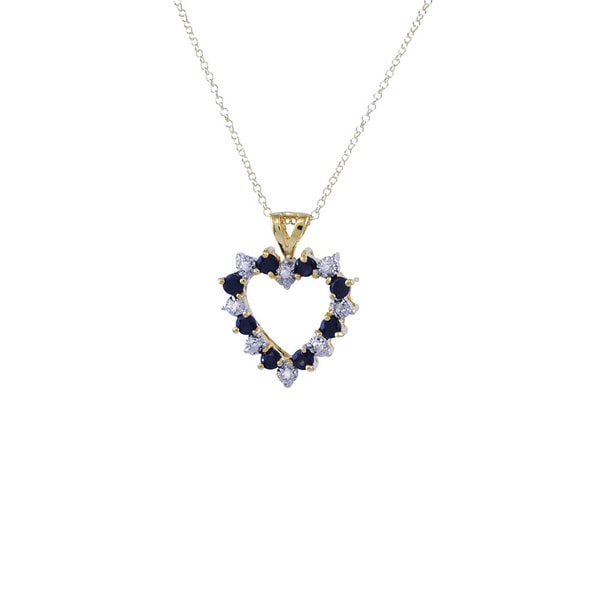 Sterling Silver Vermeil Diamond Sapphire Open Heart 18-inch Pendant Necklace
