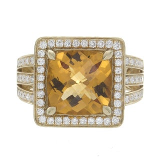 14k Yellow Gold 4/5ct TDW Diamond and Citrine Cocktail Ring (H-I, SI1-SI2)