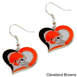 NFL Swirl Heart Earring Dangle Logo Charm Gift Set 14293074