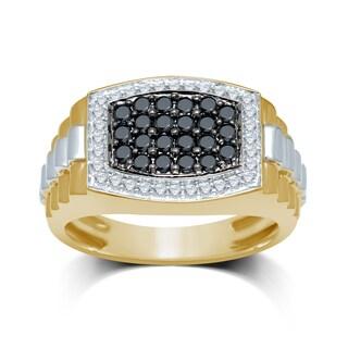 10k Two-tone Gold Men's 1ct TDW Black and White Diamond Ring (I-J, I1-I2)