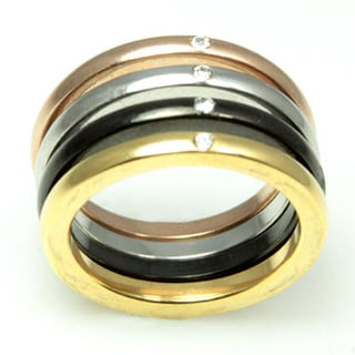 Stackable Stainless Steel Multiple Color Cubic Zirconia Ring (Set of 4)