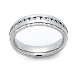 Stainless Steel Cubic Zirconia Eternity Band