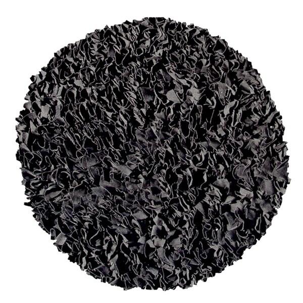 Shaggy Raggy Black Rug (4' Round)