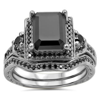 Noori 14k White Gold 2 1/4ct TDW Black Emerald Cut Certified Diamond Bridal Ring Set