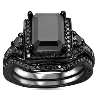 Noori 14k Black Gold 2 1/4ct TDW Black Emerald Cut Certified Diamond Bridal Ring Set