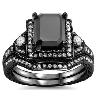 14k Black Gold 2 1/4ct TDW Black and White Certified Diamond Bridal Ring Set (G-H, SI1-SI2)