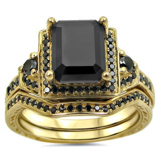 14k Yellow Gold 2 1/4ct TDW Black Certified Diamond Bridal Ring Set