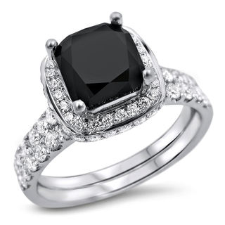 Noori 18k White Gold 2 3/4ct TDW Black and White Diamond Bridal Ring Set (F-G, SI1-SI2)