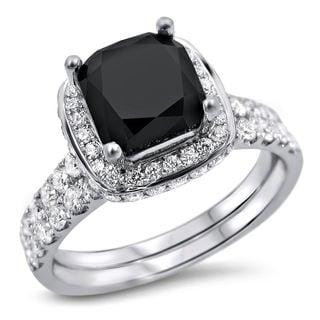 18k White Gold 2 3/4ct TDW Black and White Diamond Bridal Ring Set (F-G, SI1-SI2)