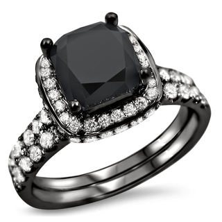 18k Black Gold 2 3/4ct TDW Black and White Certified Diamond Bridal Ring Set (F-G, SI1-SI2)