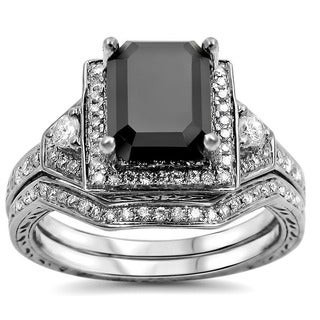 Noori 14k White Gold 2 1/4ct TDW Black and White Certified Diamond Bridal Ring Set