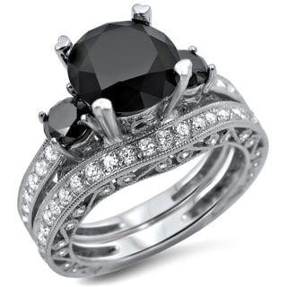 18k White Gold 4 2/5ct TDW Black and White 3-stone Diamond Bridal Ring Set (F-G, SI1-SI2)