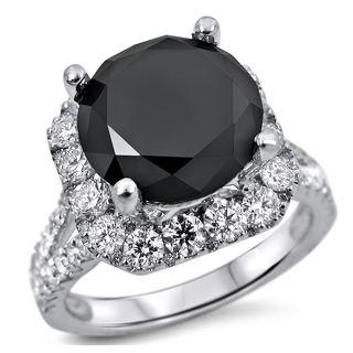 18k White Gold 5 1/4ct TDW Black and White Certified Diamond Halo Engagement Ring (E-F, SI1-SI2)