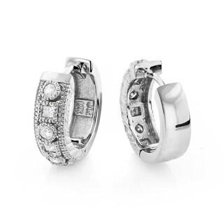 Luxurman 14k White Gold 3/4ct TDW Diamond Beaded Hoop Earrings (H-I, SI1-SI2)