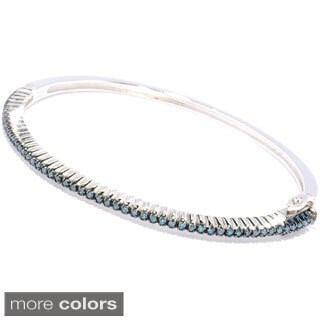 Sterling Silver 1/2ct TDW Colored Diamond Bangle Bracelet (Blue, Brown, White or Yellow)