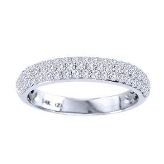 14k White Gold 3/4ct Diamond Micro Pave Wedding Band
