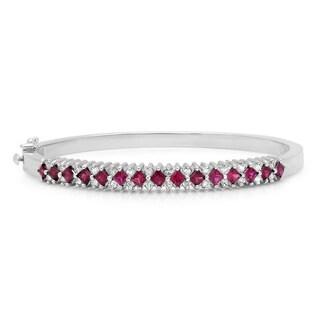 14k White Gold Ruby and 1ct TDW Diamond Bangle Bracelet (F-G, VS1-VS2)