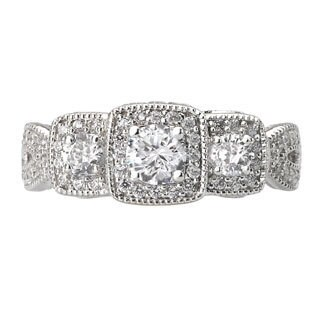 Avanti 14k White Gold 3/4ct Three-stone Milgrain Detail Engagement Ring (G-H, SI1-SI2)