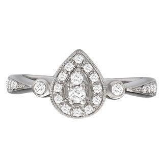 Avanti 14k White Gold 1/2ct TDW Pear Shape Vintage Diamond Ring (G-H, SI1-SI2)
