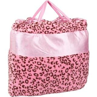 OC Daisy Pink Cheetah Print Napbag Travel Blanket and Pillow Set