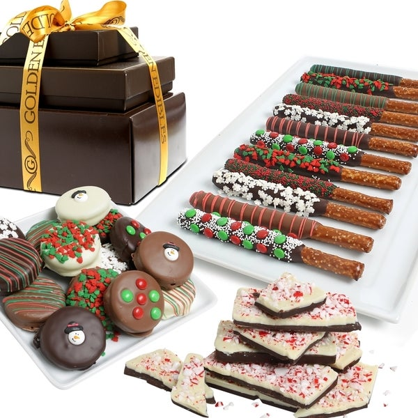 Spectacular Holiday Belgian Chocolate Covered Snack Tower (25 Pieces)