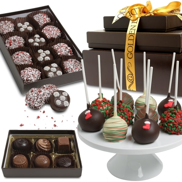 Happy Holidays Belgian Chocolate Covered Snack Gift Tower (28 Pieces)