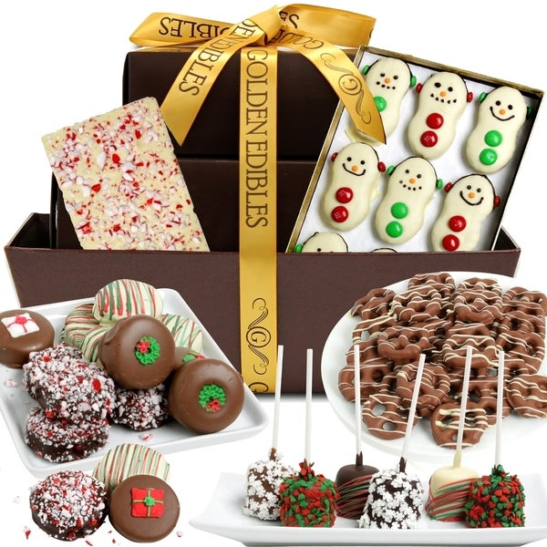 'Let it Snow' Belgian Chocolate Snacks Gift Basket (28 Pieces)