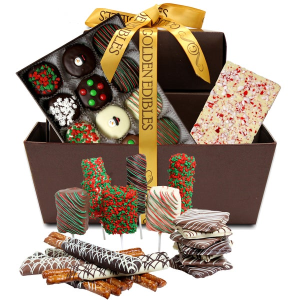 Perfect Holiday Belgian Chocolate Covered Snack Gift Basket (40 Pieces)