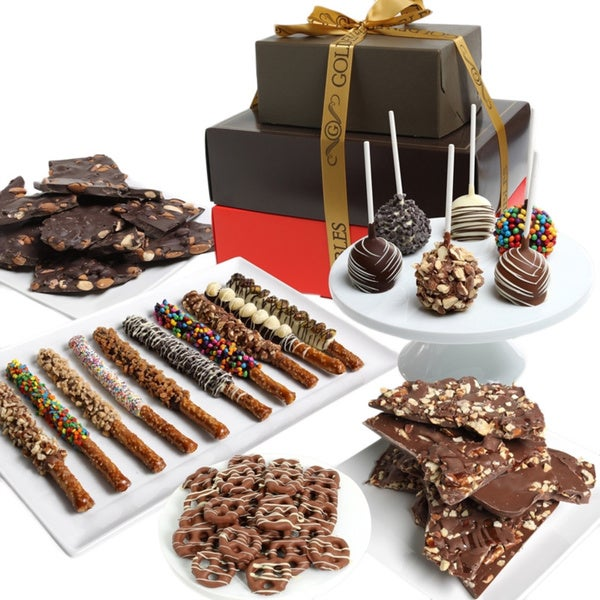 Golden Artisan Belgian Chocolate Covered Gift Tower (37 Pieces)