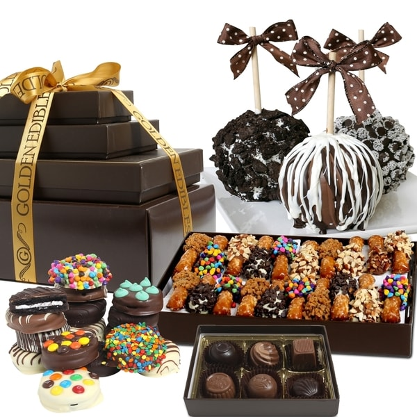 Celebration Caramel Chocolate Covered Snack Gift Tower (37 Pieces)
