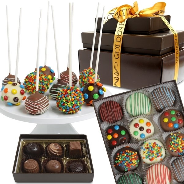 Best Wishes Birthday Belgian Chocolate Covered Gift Basket Tower (18 Pieces)