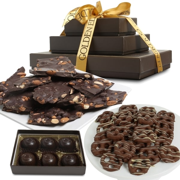 Dark Belgian Chocolate Sweet and Salty Gift Basket Tower (8 Pieces)
