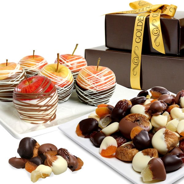 Golden Chocolate Covered Fruit Gift Tower (7 Pieces)