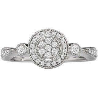 Avanti 14k White Gold 3/4ct TDW Princess Diamond Halo Engagement Ring (G-H, SI1-SI2)